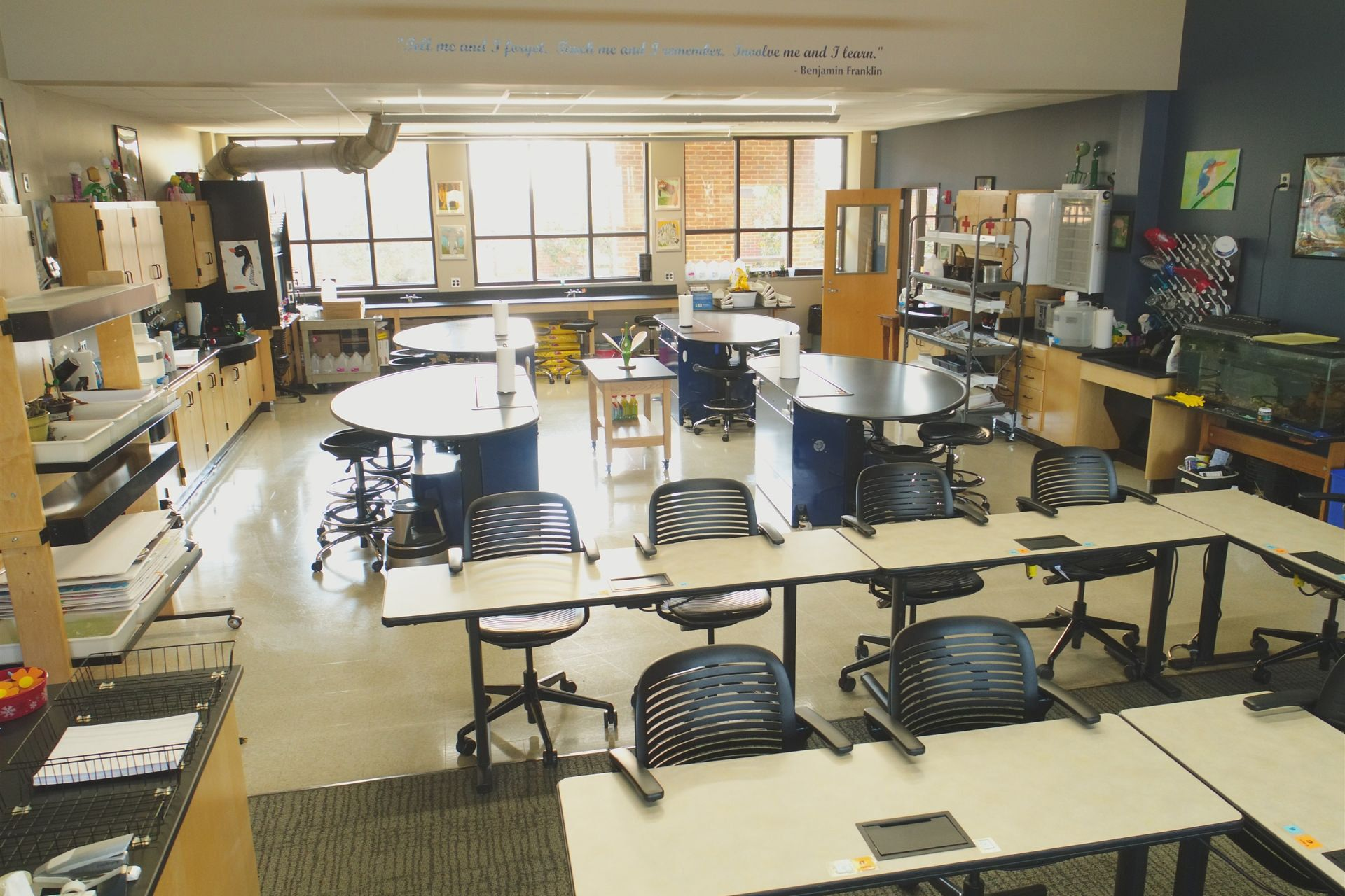 St. Andrew's science classrooms have dedicated spaces for long-term projects