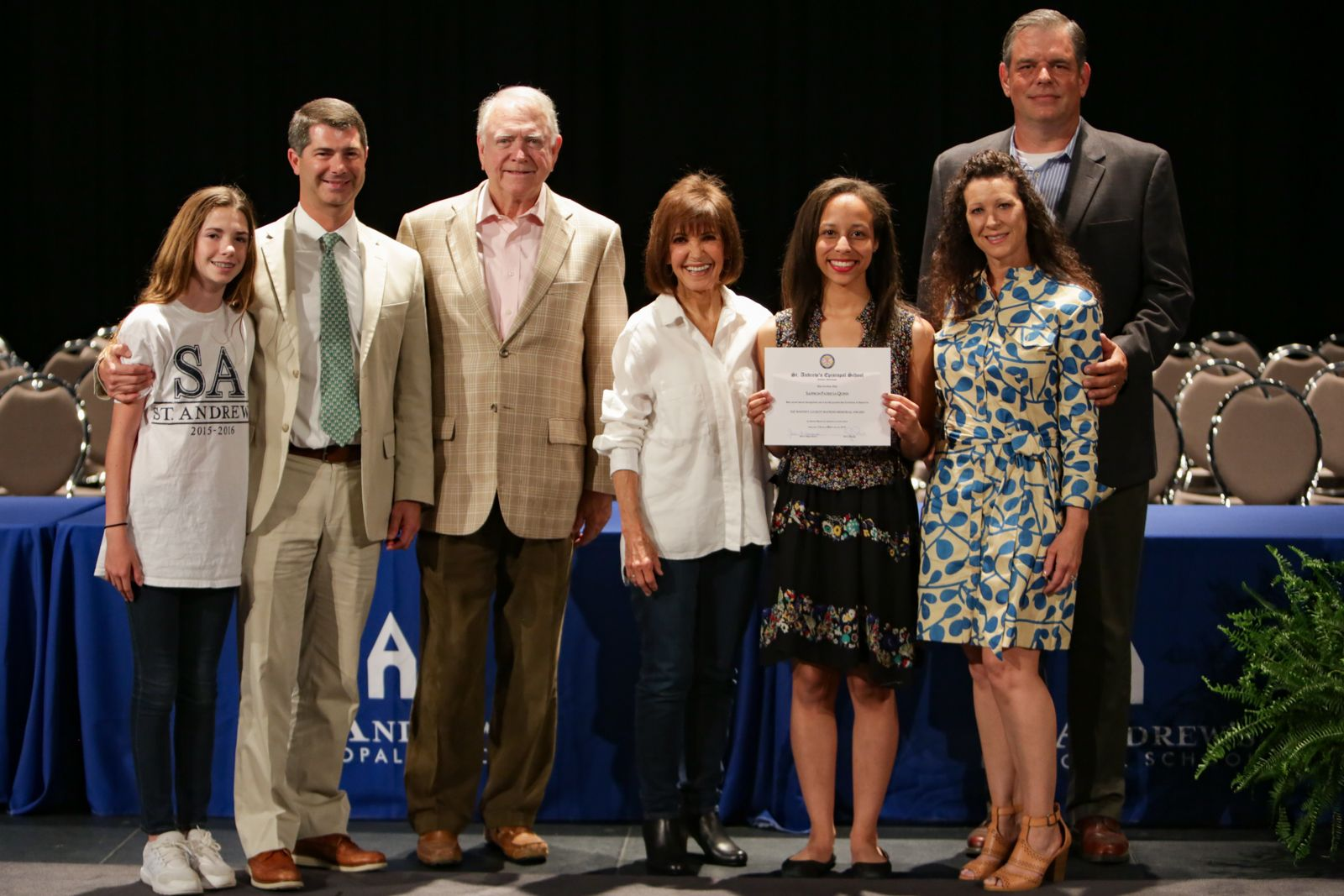 <em>Saffron Quinn '19, recipient of the first Whitney Luckett Watkins Memorial Award, stands with members of the Luckett and Watkins families.</em>