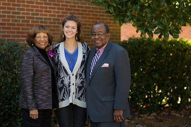 Juanita and Frank Bluntson with Allie Puneky '14, the first recipient of the Craig D. Bluntson Memorial Scholarship