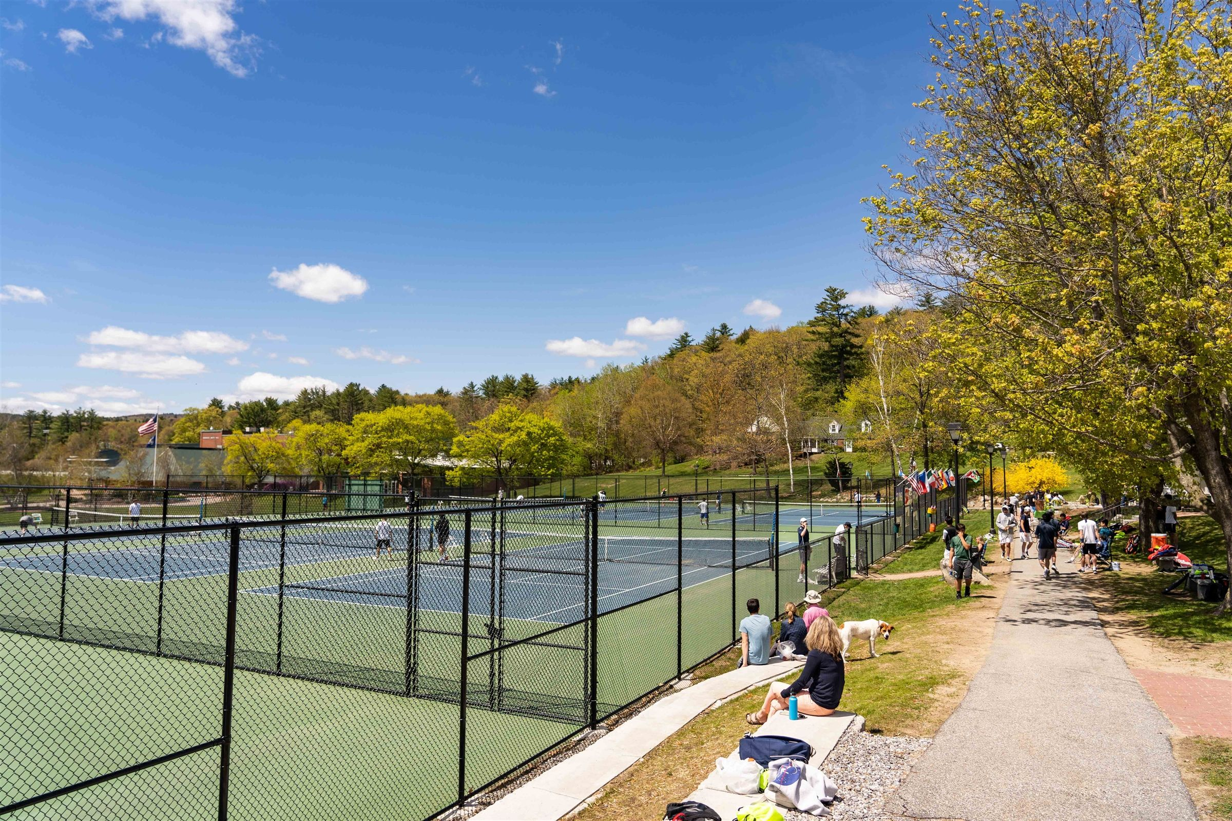New Hampton School's newly refinished Tennis courts complete with viewing patio