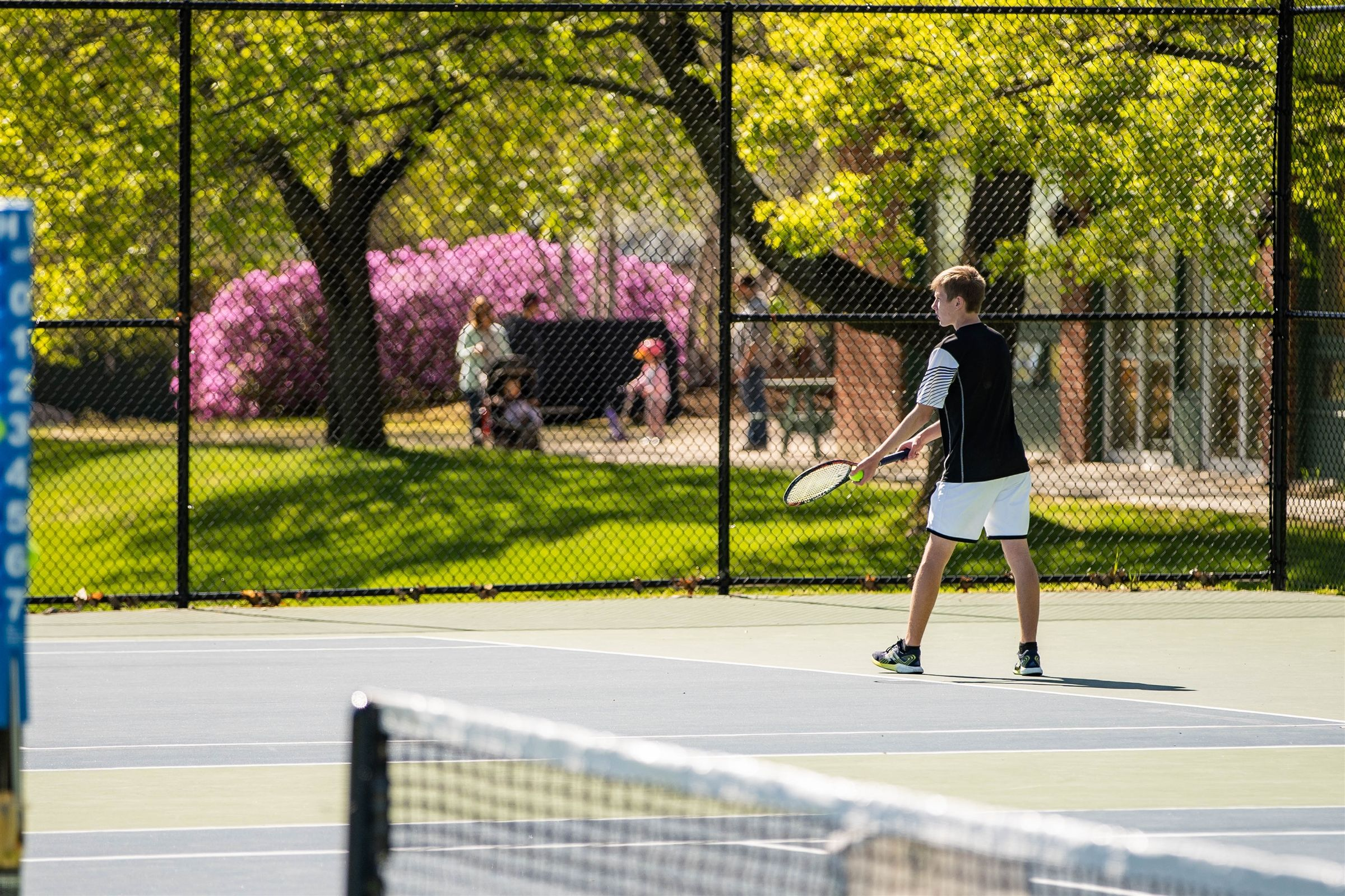 New Hampton School students play on the newly refinished tennis courts