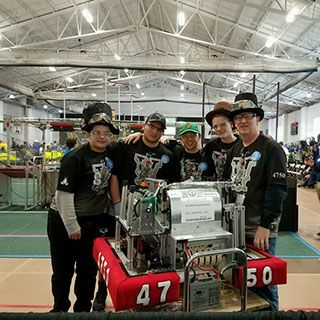 Members of our Robotics team before a competition