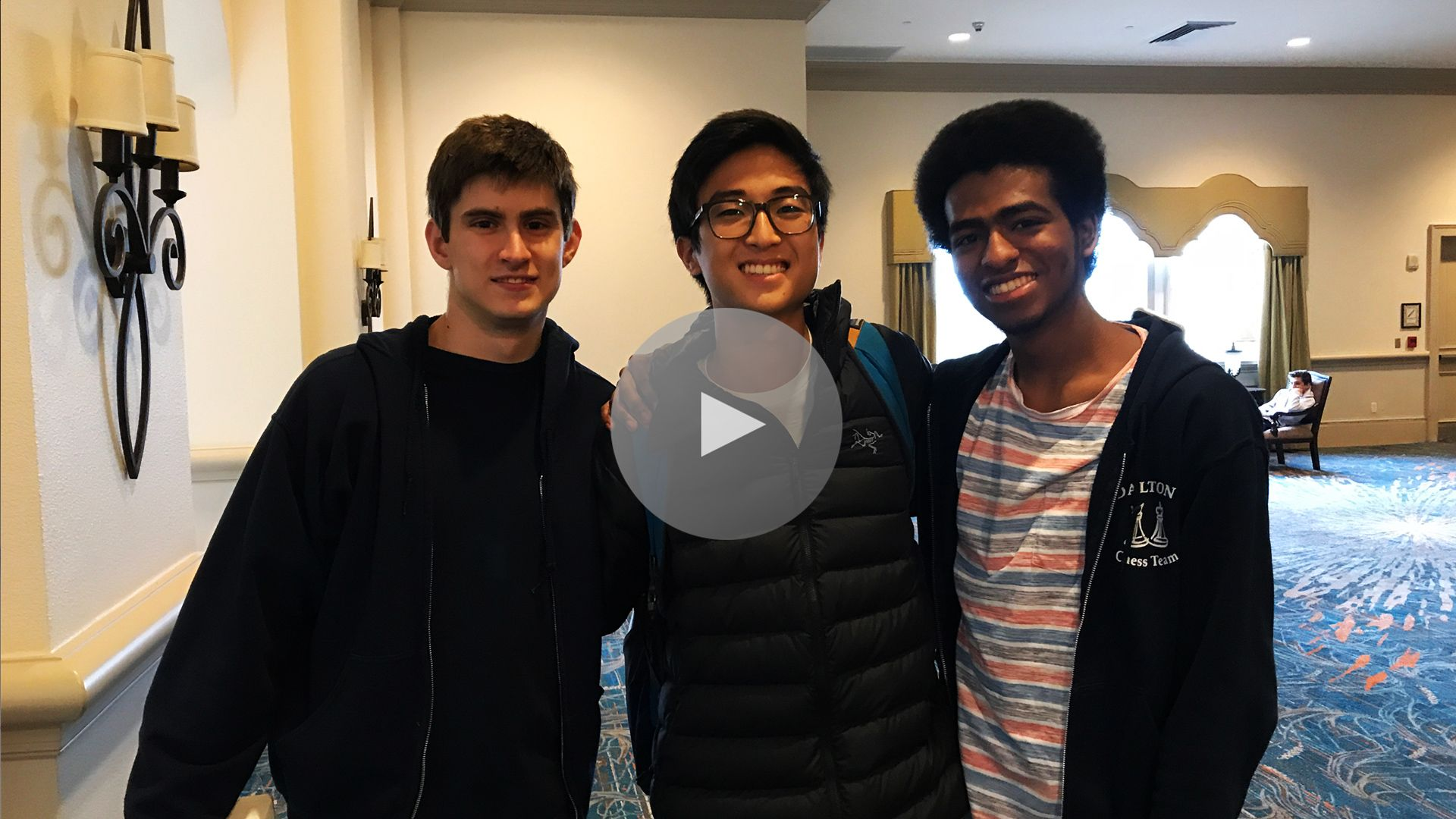 Seniors Danny Challenger, Reddy Lee, and Tristan Sollecito give a heartwarming and inspiring toast about what their ongoing commitment to Dalton chess has meant to them throughout their many Dalton days. This was their 18th trip to the Nationals.