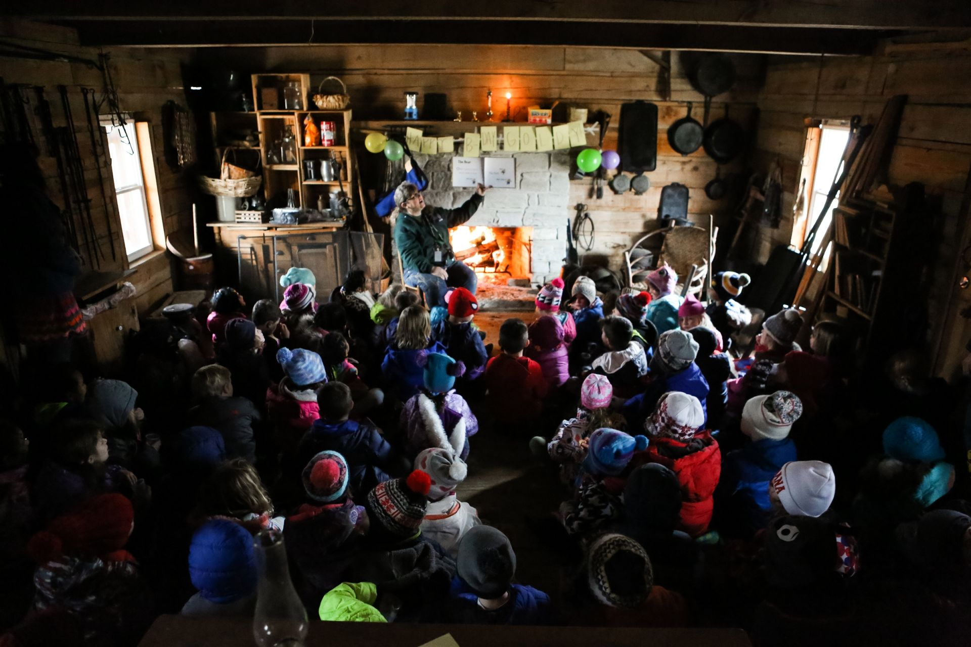 After the long journey through the woods, it was story time in the cabin with Mrs. P in honor of Goldilocks and the Three Bears birthday.