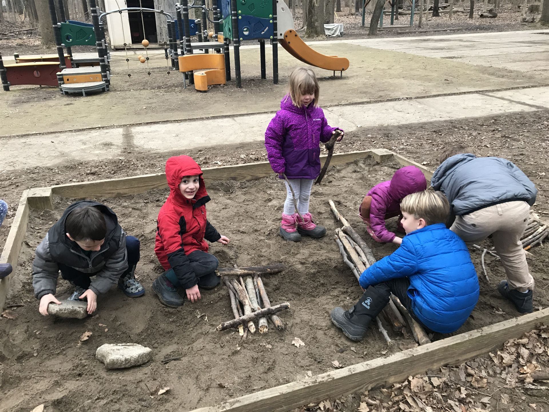Students were given a challenge to build a bridge for the Three Billy Goats Gruff using scrounge and natural materials.