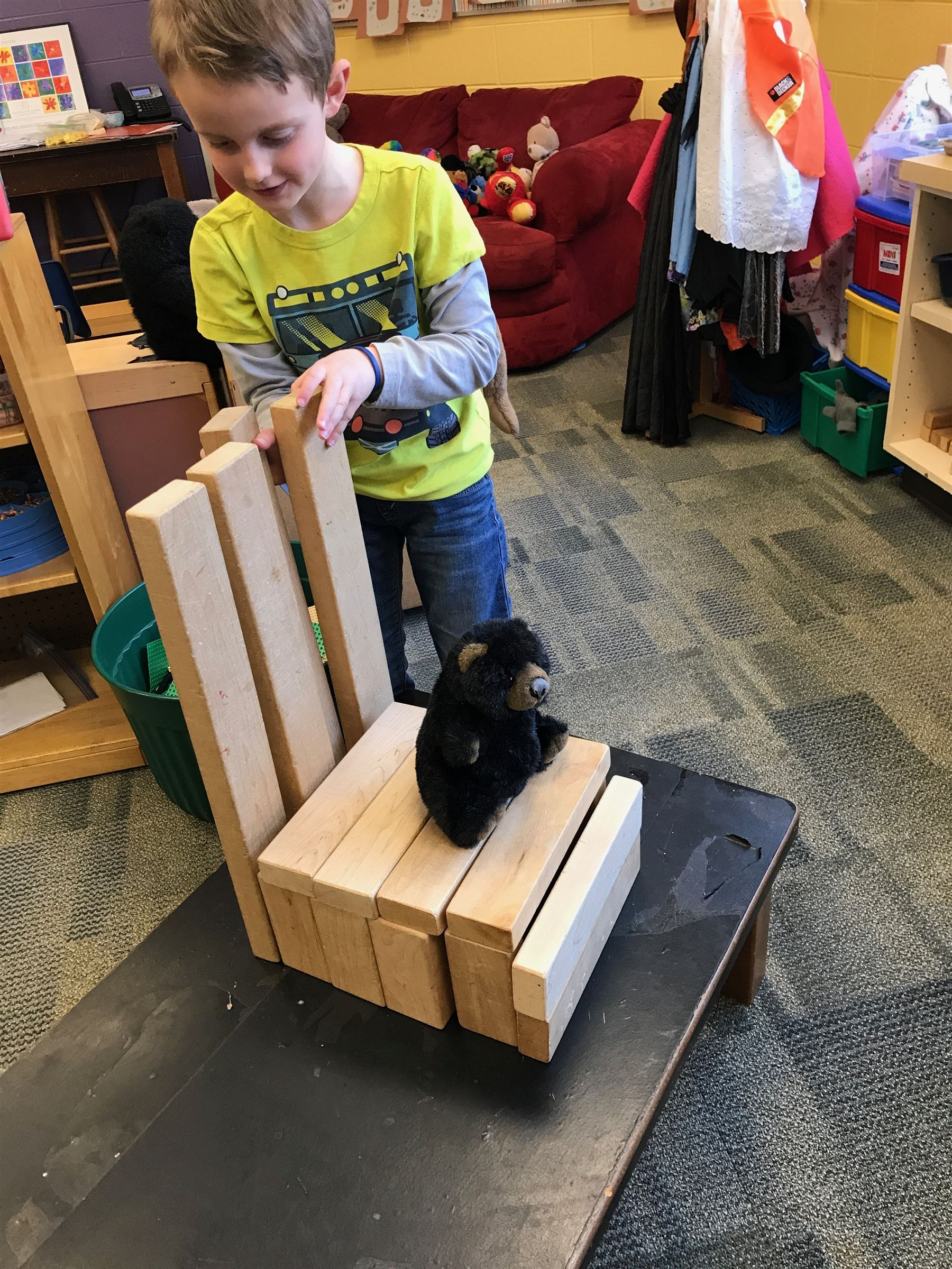 To go along with the fairy tale Goldilocks, each child brought in their own bear. We integrated the story into our STEM lessons by measuring our bears with non standard measurement and tasking the children to build a chair just right for their bear.