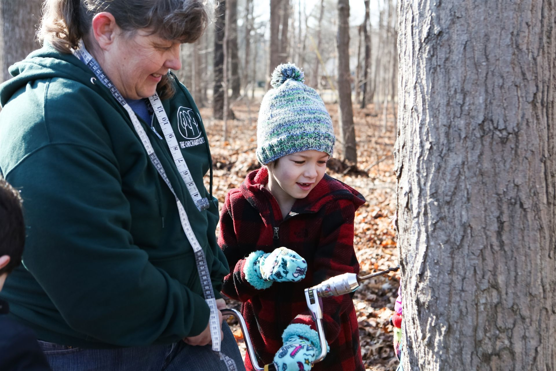 For more than 90 years, first-graders tap the trees on our 43-acre wooded campus. The hands-on work is part of a curriculum that teaches them all about trees. They measure the trees' diameters, drill holes and insert the pegs that drain the sap, collect several times a day, and then boil it down. They also learn about evaporation, chemical processes, and other important lessons.