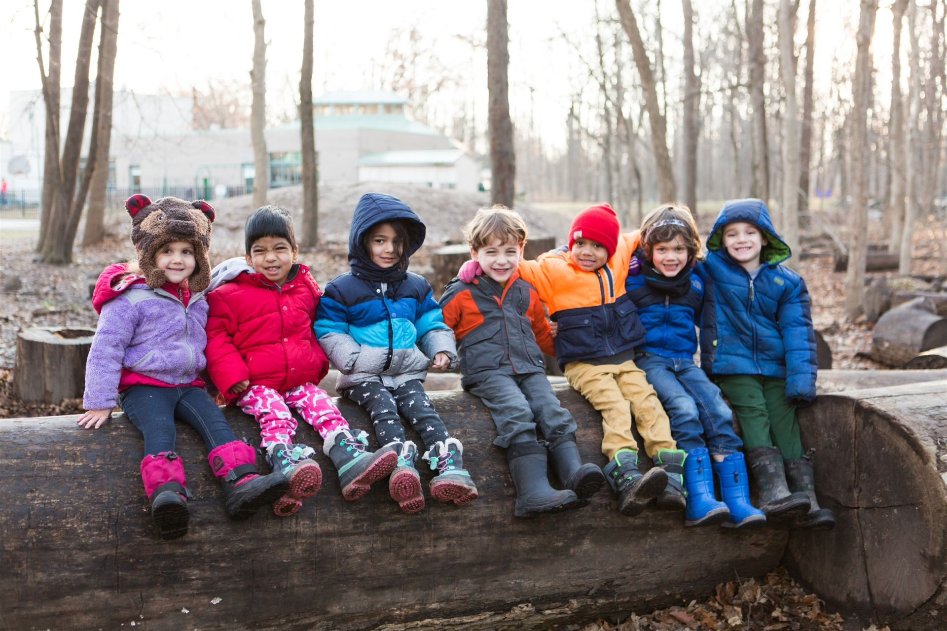 It was wonderful seeing all of these kiddos help their friend climb up on the log. Compassionate preschoolers!