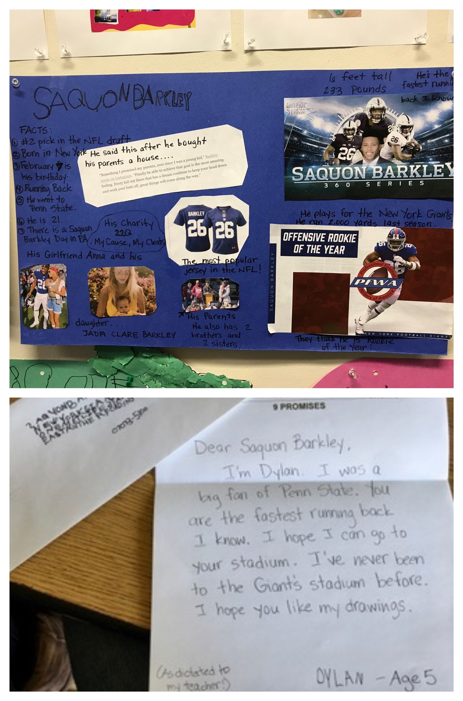 One student was interested in the running back for the New York Giants, Saquon Barkley. He even wrote him a letter.