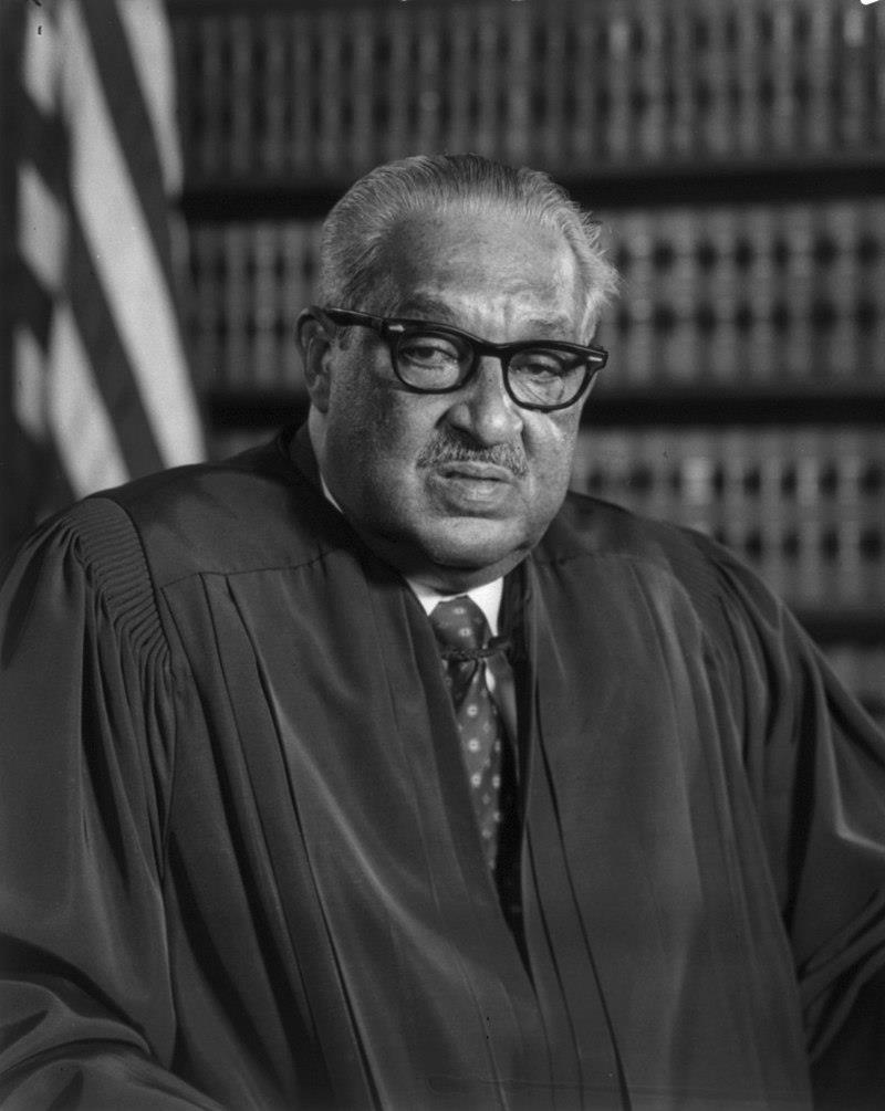"Born in Baltimore, Maryland on July 2, 1908, Thurgood Marshall was the grandson of a slave. His father, William Marshall, instilled in him from youth an appreciation for the United States Constitution and the rule of law. After completing high school in 1925, Thurgood followed his brother, William Aubrey Marshall, to the historically black Lincoln University in Chester County, Pennsylvania. His classmates at Lincoln included a distinguished group of future Black leaders, such as the poet and author Langston Hughes, the future President of Ghana, Kwame Nkrumah, and musician Cab Calloway. Just before graduation, he married his first wife, Vivian ""Buster"" Burey. Their twenty-five-year marriage ended with her death from cancer in 1955."