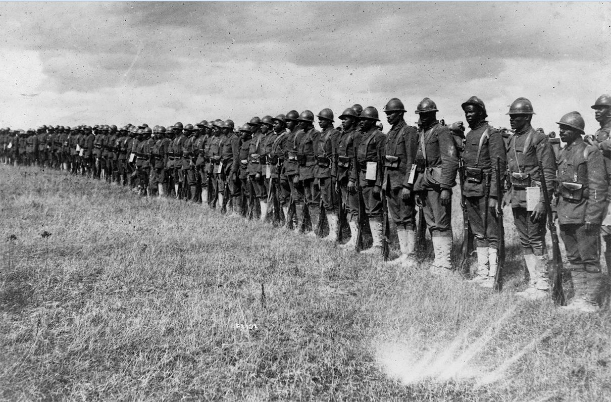 The Harlem Hellfighters was a group of all black men who fought in World War One along with the French and British Army. The Harlem Hellfighters were from Harlem, New York. U.S. armed services did not allow black troops to fight along with them. The Hellfighters had no proper military training and had to train themselves.   The French and British welcomed the Harlem Hellfighters to fight with them. Led by Pvt. Henry Johnson, this group was in France when they were attacked by a German unit. Henry Johnson, alone, fought off 30 Germans losing only four men in the regime. He suffered serious injuries. After this heroic effort, he was the first American, white or black, to receive the Croix de Guerre. The Croix de Guerre is the highest award that you can receive in the French Army.   The Harlem Hellfighters advanced to occupy positions along the Rhine river and threatened to invade Germany property. After they were sent home, they did not get help nor recognition from the U.S. government. The men from Harlem Hellfighters comprise the most decorated combat regiment in U.S. History.