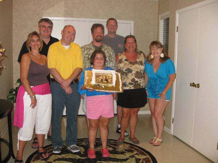 (L to R): Becky May, Jeff Whitesell, me, Fritz Harbridge, Eric Renner, Jill Bishop, Kirstin Johnson.  (It may be hard to see, but Jill's daughter is holding a cake that is decorated with our 8th grade class picture).
