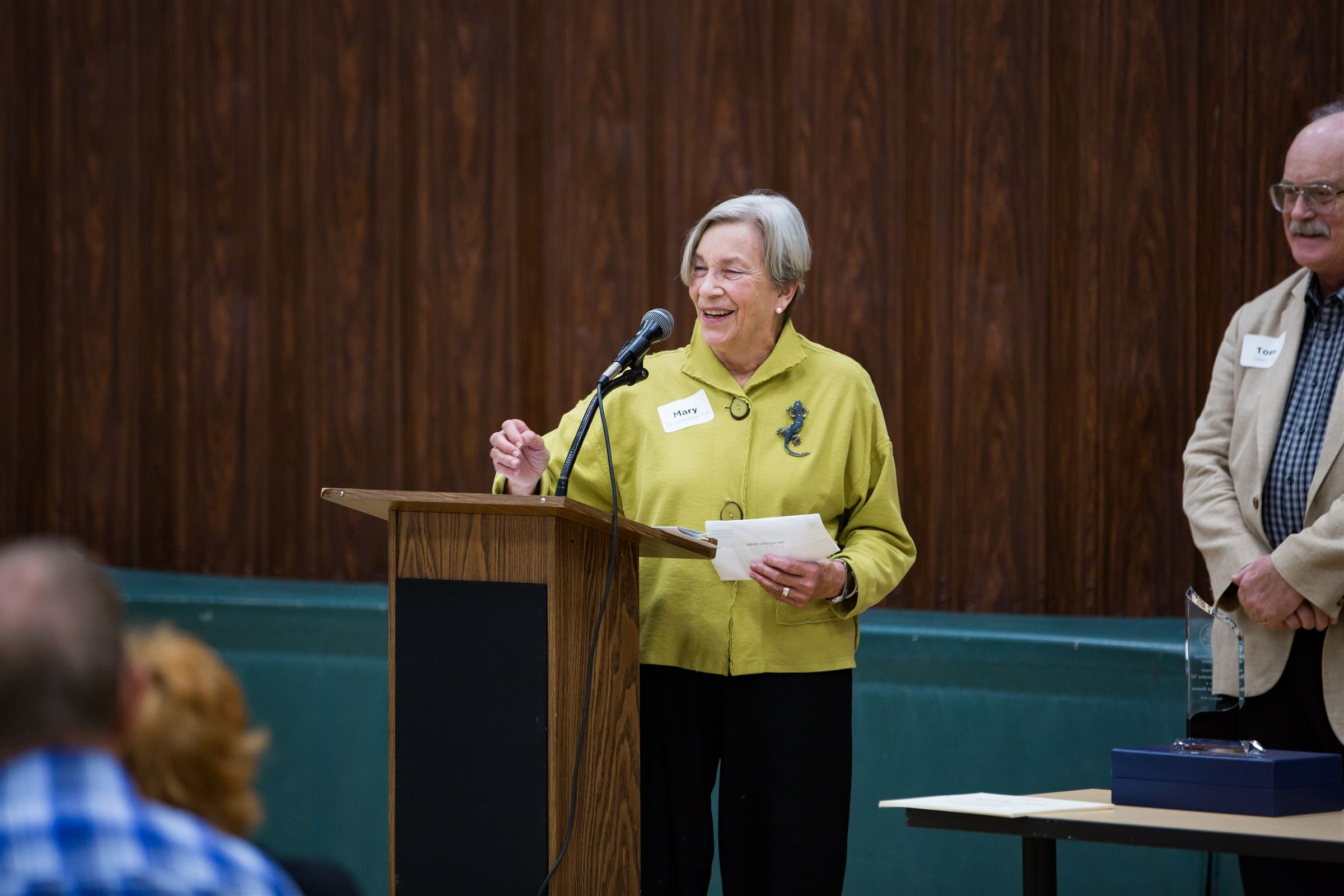 Mary Bookwalter '62 received the Distinguished Alumuns/Alumna Award, which is given to an alumnus/a who personifies the mission of The Orchard School by developing knowledge, confidence, and character essential for a life of learning, leadership and positive contribution to society.