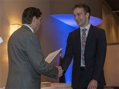 National AP Scholar John Kelly '19 receives an award at the Academic Awards Banquet in April, 2019.
