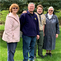 Carol Ann Fausone, Mark (Kevin's father), Kevin and Sr. Beatrice Marie Plamondon