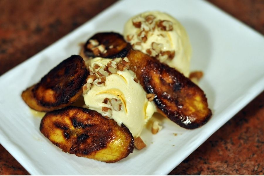 plantains with ice cream