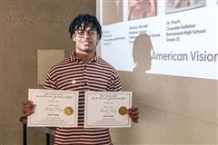 Jalen Sueing with Gold Key art awards
