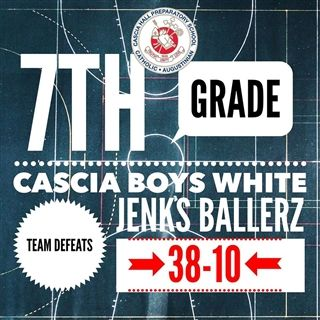 The 7th-grade boys white team triumphed over Jenks on Saturday, 38-10