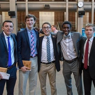 The student researchers from left to right: Keegan Grealish '19, Joe Boland '19, Danny Podratsky '19, Hameed Nelson '19, and Matthew Johnson '19