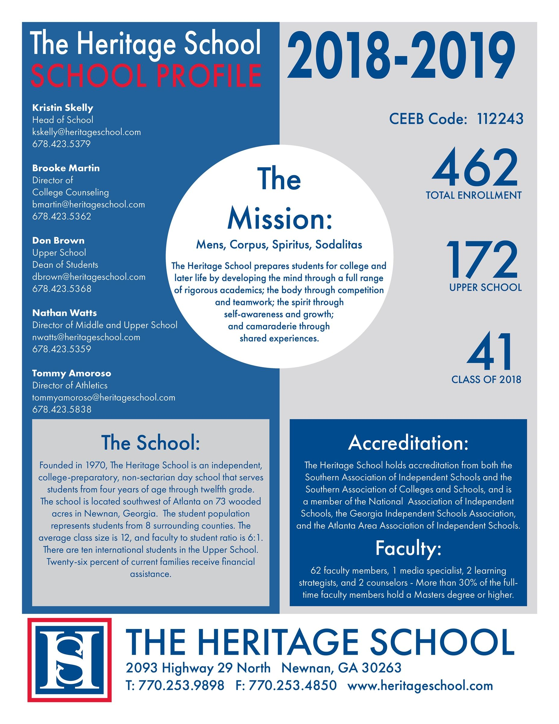 2018-2019 Heritage School Profile