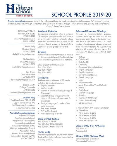 2019-2020 Heritage School Profile