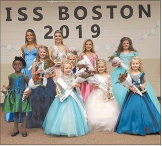 Miss Boston Pageant winners and runners-up are, front row, left to right: Londyn Williams, Wee Miss Boston Ellie Reese Butler; Jr. Little Miss Boston Avah Su Brown and Lyla Frances Searcy; middle row, Ashlynn Isabella Baunock, and Little Miss Boston Rilyn Paige McLeod; and back row, Eden Ashlee Jones, Miss Boston Courtlen McCullers, Jr. Miss Boston Savannah Lee Ward, and Kathryn Elizabeth Willis.