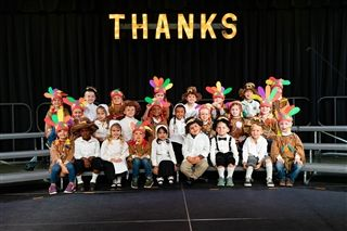 The Brookwood School Junior Kindergarten class set the tone for the day of giving thanks at their annual Thanksgiving program.