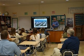 Dr. Wayne Clough address Marine Biology and Physics students at Brookwood School while touring Thomasville.