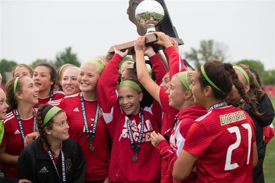 The DSHA Varsity Soccer Team celebrates their Division 1 Runner-Up finish on June 15. Photo courtesy of the Milwaukee Journal Sentinel.