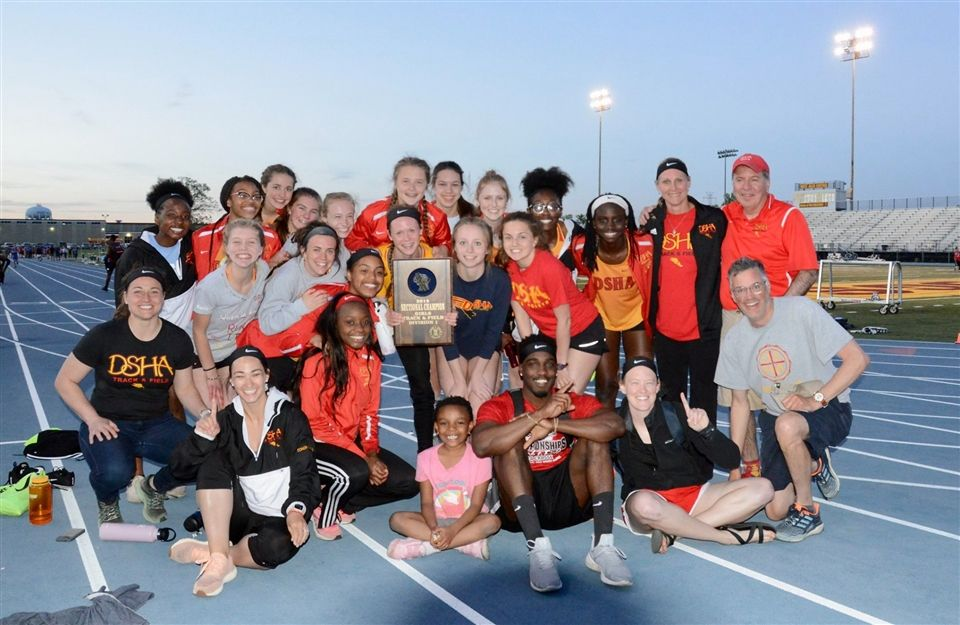 The DSHA Track & Field Team celebrate their WIAA Sectional victory at the end of May. The following weekend, they placed second at the WIAA State competition.