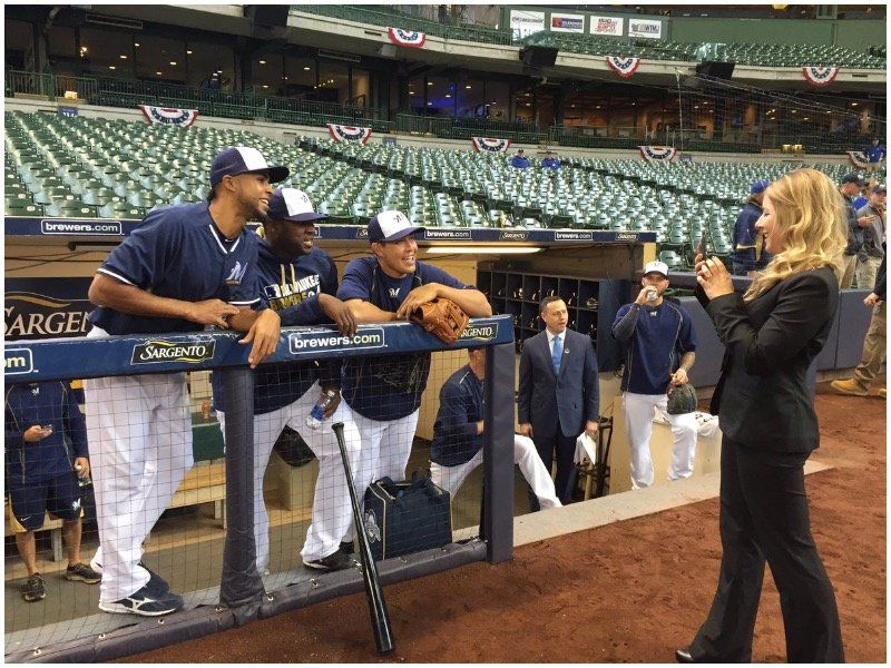 Caitlin Moyer, DSHA '01, and her team work behind a screen to provide over 2 million followers behind-the-scenes access to the Milwaukee Brewers.