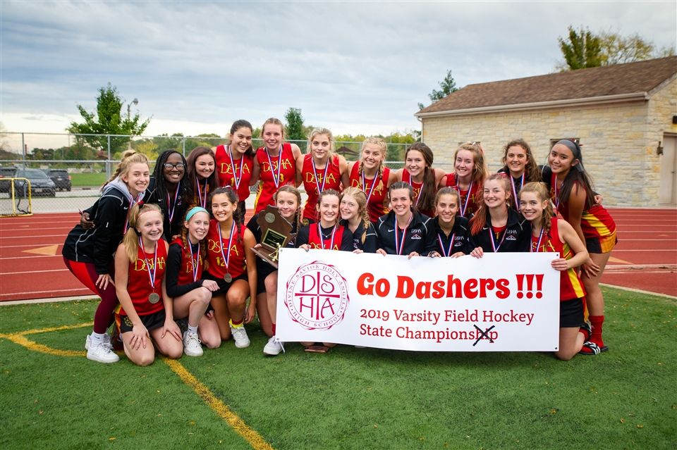 The DSHA Varsity Field Hockey Team celebrated taking home the Wisconsin High School Field Hockey Association State Championship — for the first time in school history.  Photo courtesy of Mark Frohna.