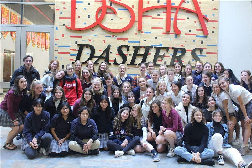The French exchange students and their DSHA hosts pictured in October at DSHA.
