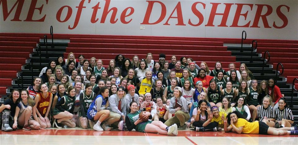 The DSHA Class of 2020 at the staff vs. seniors basketball game in January.