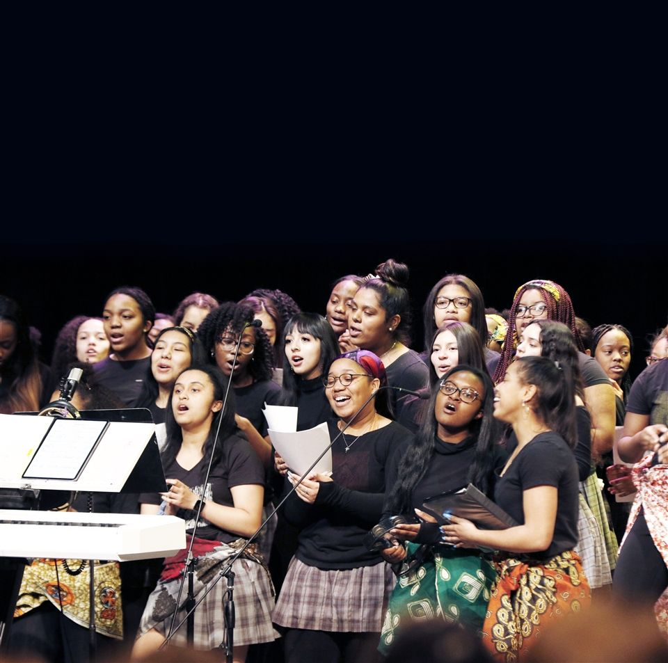 Members of the Sisters of Culture Club shared gospel music throughout the celebration with Angelaire Makayla Hughes, DSHA '21, (first row, far right) leading the choir.