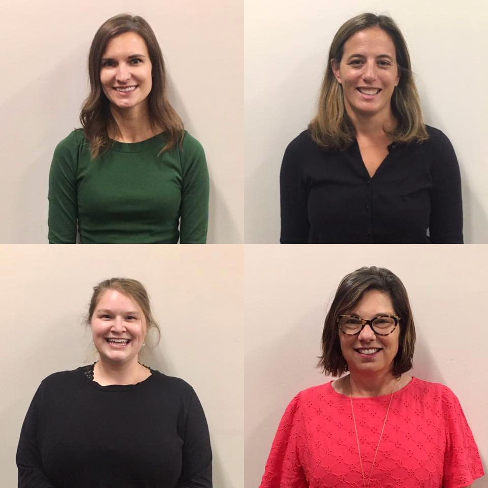 The 2020-2021 Campus Ministry team consists of: Stephanie Monson (top left), Katie Bova Hoffmann, DSHA '02 (top right), Katie Daily Pickart, DSHA '84, PhD (bottom right), and Catherine Lennon (bottom left).
