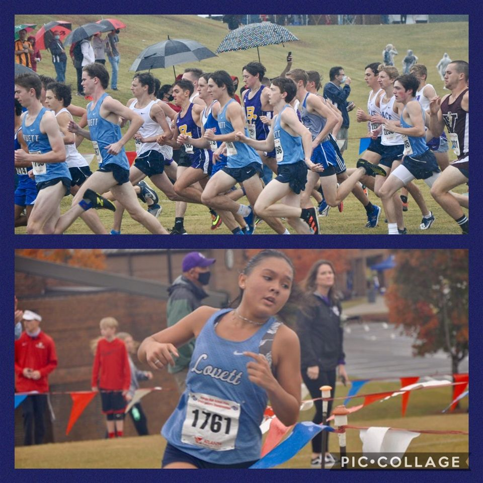 Top: Seniors Joe Urbanowicz, Patrick Pitts, Al Coy and Henry Haden and junior Bennet Denker starting out in pursuit of the State Championship. Bottom: Senior State Champion Sydney Lamberson.