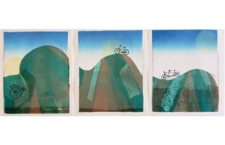 "Triptych art piece entitled ""Bicycles"""