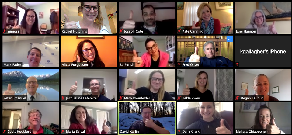Faculty & Staff connect in a zoom meeting on March 30, 2020