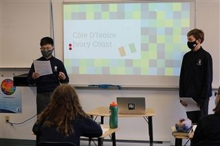 Noah and Olyn researched a fun vacation spot at Côte d'Ivoire (The Ivory Coast).