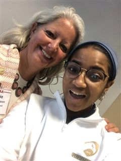 ICS Director of College Counseling Maggie Melson and senior Jordyne Hebron enjoy a photo op after Jordyne served on the LAA student panel.