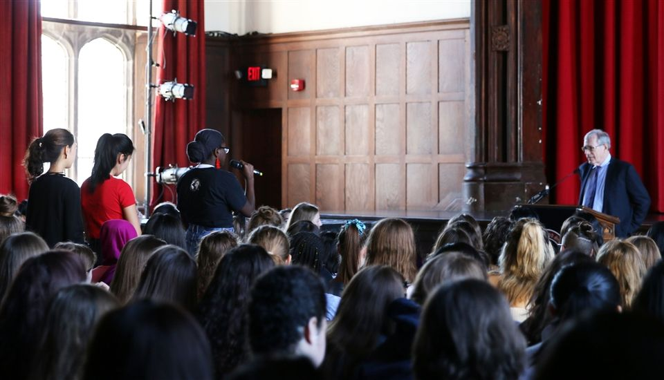 Dr. Foner answers questions from Emma Willard students