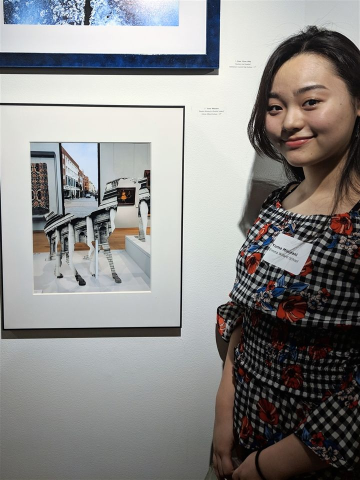 "Yuma M. '21 with her piece ""Boston Museum in Boston, Ireland"""