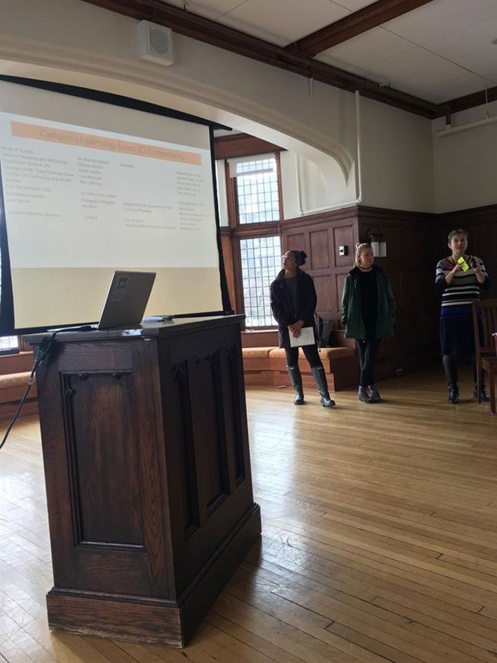 Dean of Students and Wellbeing Shelley Mahar and students present Campus Core Leadership Team findings to the Emma Willard School Board of Trustees during the January Board meeting.