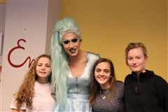 Noelle Diamond and Emma students enjoyed discussions of gender fluidity at Drag Queen Story Hour on February 28.