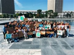 Students gather at the reflecting pools at the Empire State Plaza before joining the climate strike on September 20, 2019.