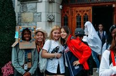 Students in costume on campus