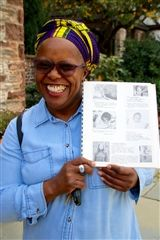 Toni Davis Hall '72 shows off her yearbook and smile at All Alumni Day!