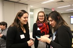 Shelby Cranshaw '09, Emily Cranshaw Taylor '05, and Allison Young P'26 catch up at Renbrook's Regional Reception in Boston in February.