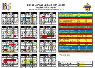 Las Vegas School Calendar 2019 Bishop Gorman High School | Calendar